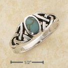 STERLING SILVER GENUINE OVAL TURQUOISE RING WITH CELTIC KNOTS SHANK.