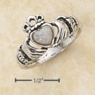 STERLING SILVER SMALL ANTIQUED CLADDAGH RING W/ WHITE OPAL HEART.