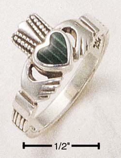 STERLING SILVER CLADDAH W/ MALACHITE INLAY RING