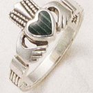 STERLING SILVER CLADDAH W/ MALACHITE INLAY RING .