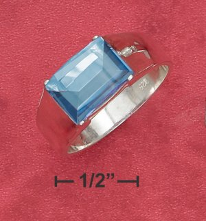 STERLING SILVER 8X12MM SMOKY BLUE DOMED EMERALD CUT CZ RING