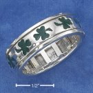 STERLING SILVER UNISEX GREEN ENAMEL SHAMROCK SPINNER BAND (NICKEL FREE)
