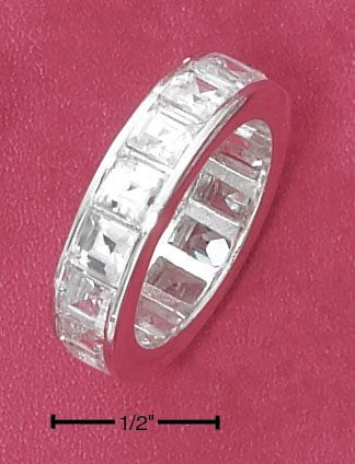 STERLING SILVER 6MM CLEAR CHANNEL SET PRINCESS CUT CZ ETERNITY BAND