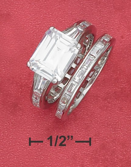 STERLING SILVER   3.75CT EMERALD CUT CUBIC ZIRCONIA SOLATAIRE WEDDING SET