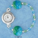 "STERLING SILVER 7"" AUSTRIAN CRYSTAL & GLASS LAMPWORK BEAD JELLY WIRE STRETCH WATCH"