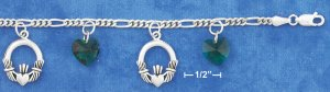 ": STERLING SILVER 7""-8"" ADJ FIG CHARM BRACELET W/ 10MM GRN GLASS HEARTS & CLADDAGHS"