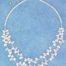 "STERLING SILVER 16.5""-18.5"" ADJ TWO STRAND WHITE KEISHI PEARL NECKLACE W/ CRYSTALS"