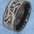 BLACK STAINLESS STEEL LASER ETCHED 10MM BAND WITH DRAGON PATTERN