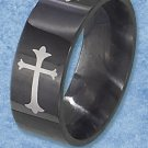 STAINLESS STEEL 8MM MENS BAND RING WITH BLACK FINISH AND CROSS DESIGN