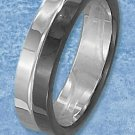 STAINLESS STEEL WAVY 6MM UNISEX WEDDING BAND RING WITH HALF PVD COLOR