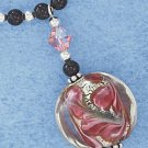 "STERLING SILVER 16-18"" ADJ ROSE FOIL GLASS BEAD & DROP W/ CRYSTAL LS NECKLACE"