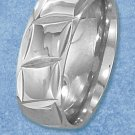 STAINLESS STEEL DIAMOND CUT 8MM BAND WITH CONTINUOUS SQUARE PATTERN