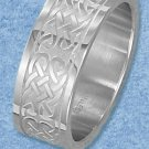 STAINLESS STEEL 9MM MENS BRUSHED BAND WITH DOUBLE ROW CELTIC DESIGN