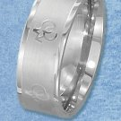 STAINLESS STEEL 8MM WIDE LASER ETCHED BAND WITH MALE GAY PRIDE SYMBOLS