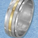 STAINLESS STEEL 8MM MENS SPINNER RING WITH GOLDPLATED CENTER STRIPE