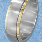 STAINLESS STEEL 8MM MENS BRUSHED SPINNER RING WITH GOLD PLATED EDGES