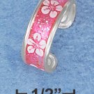 STERLING SILVER HP PINK ENAMEL GLITTER TOE RING WITH FORAL EMBLEMS