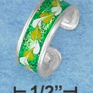 STERLING SILVER HP GREEN ENAMEL TOE RING WITH GLITTER AND LEAF MOTIF