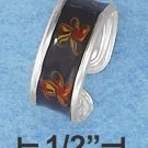 STERLING SILVER HP BLACK ENAMEL TOE RING WITH RED AND YELLOW FLORAL DESIGN