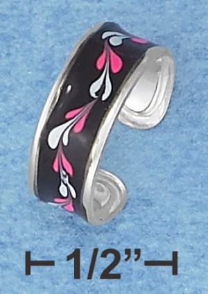 STERLING SILVER HP BLACK ENAMEL TOE RING WITH WAVY LEAVES DESIGN