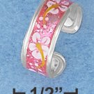 STERLING SILVER HP PINK ENAMEL TOE RING WITH FLOWER MOTIF