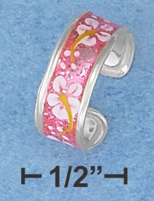 STERLING SILVER HP PINK ENAMEL TOE RING WITH FLOWER MOTIF