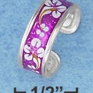 STERLING SILVER HP PURPLE ENAMEL TOE RING WITH FLOWER MOTIF