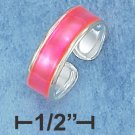 STERLING SILVER HIGH POLISH ADJUSTABLE HOT PINK ENAMEL TOE RING