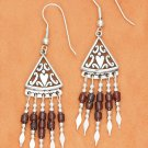 STERLING SILVER FILIGREE TRIANGLE FW EARRINGS WITH 5 STRAND GARNET HESHI FRINGE