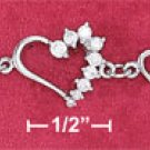 "STERLING SILVER RP 7"" ALTERNATING OPEN & JOURNEY STYLE HEART LINKS BRACELET"