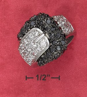 STERLING SILVER  BLACK & WHITE CZ BUCKLE RING