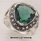 GORGEOUS STERLING SILVER TRIANGLE GREEN QUARTZ MARCASITE RING