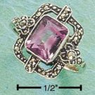 STERLING SILVER MARCASITE AMETHYST RING