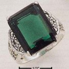 STERLING SILVER MARCASITE WITH 13X16 GREEN QUARTZ RING