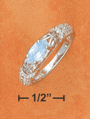STERLING SILVER   4X8M MARQUIS CUT BLUE TOPAZ RING
