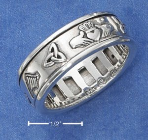 STERLING SILVER UNISEX ANTIQUED IRISH SYMBOLS SPINNER RING