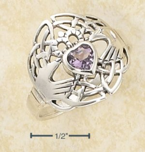 CLADDAGH RING WITH HEART SHAPED AMETHYST
