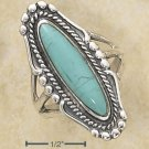 STERLING SILVER LONG OVAL TURQUOISE RING W/ ROPE & BEADED EDGING