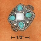STERLING SILVER TURQUOISE TEARDROPS RING
