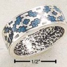STERLING SILVER INLAID TURQUOISE AZTEC DESIGN BAND