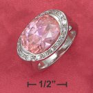STERLING SILVER 5.8 CT PINK ICE SIDE OVAL RING WITH PAVE BORDER