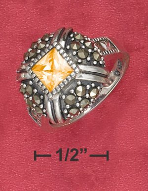 STERLING SILVER 1.25CT SQUARE ORANGE CZ CENTER RING .