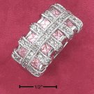 STERLING SILVER PINK ICE PRINCESS CUT CZ RING