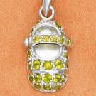 STERLING SILVER AUGUST LARGE PERIDOT COLORED CZ BIRTHSTONE BOOTIE CHARM