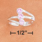 STERLING SILVER ADJUSTABLE TRIPLE 3MM PINK CZ SPLIT SHANK TOE RING
