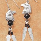 STERLING SILVER EAGLE HEAD FRENCH WIRE EARRNGS W/ ONYX & 2 FEATHERS