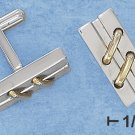 STAINLESS STEEL DOUBLE GOLD STITCHES ON HIGH POLISH BAR CUFF LINKS