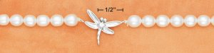 """STERLING SILVER 17"""" STRUNG FWP NECKLACE W/ CZ DRAGONFLY PENDANT"""