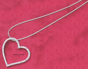"LARGE OPEN HEART W/ WHITE CZS SLIDER ON 18"" BOX CHAIN NECKLACE"