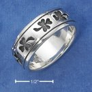 STERLING SILVER UNISEX ANTIQUED SHAMROCK BAND (NICKEL FREE)